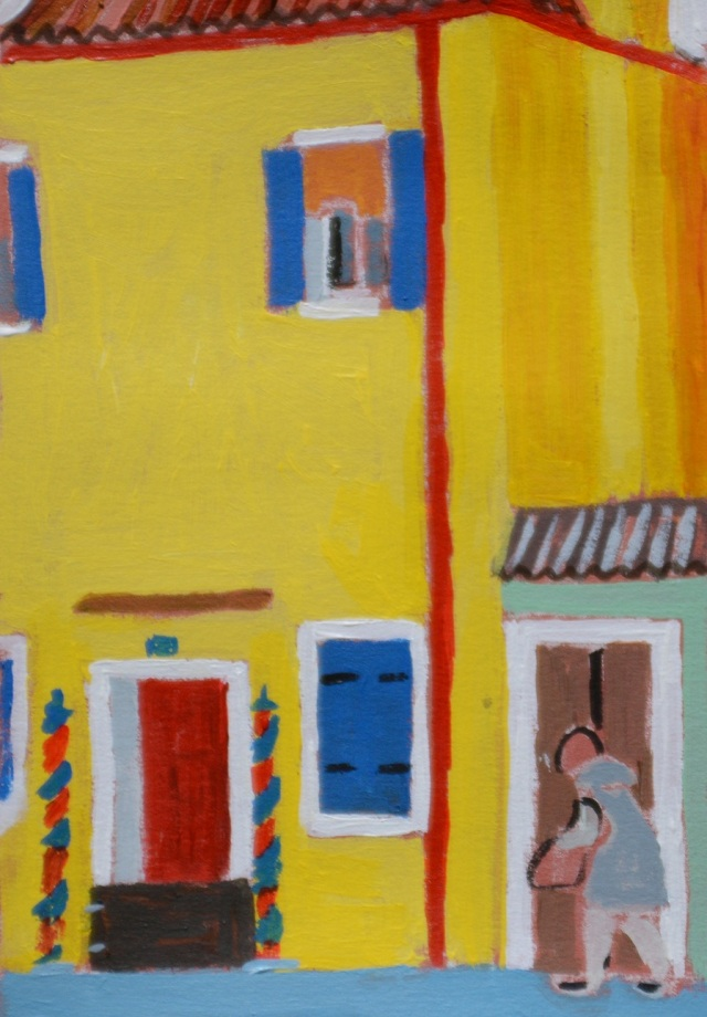 My Little Murano. The Yellow House. Acrylic on paper. 5 x15 cm. Julie Harms