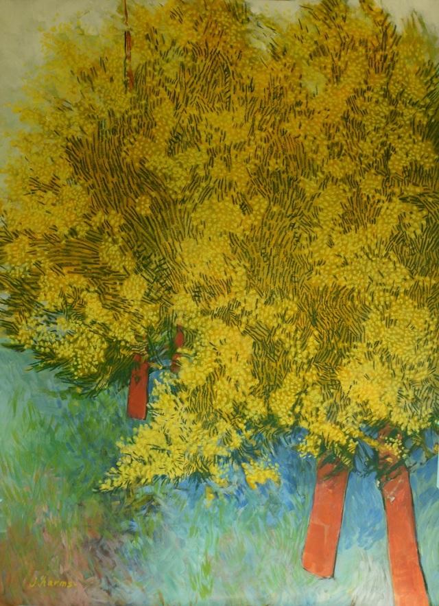 Les mimosas de Mesubenomori. 2013. 80x120cm. Acrylique et pastel à l'huile sur papier.