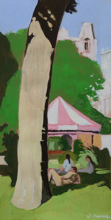 Under the trees I. 2014. 12x24cm. Acrylic on paper. J.Harms - Copie