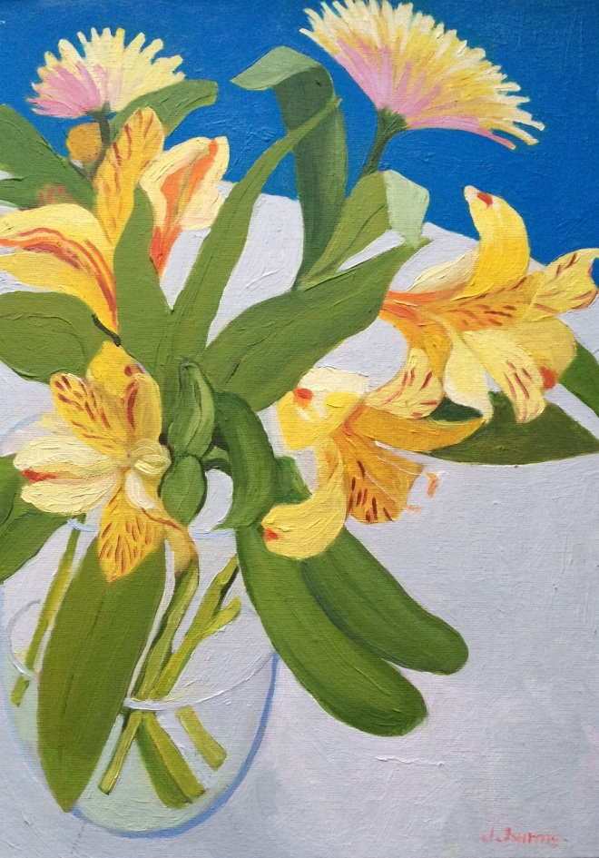 Yellow flowers. 2013. J.Harms. Oil on canvas.