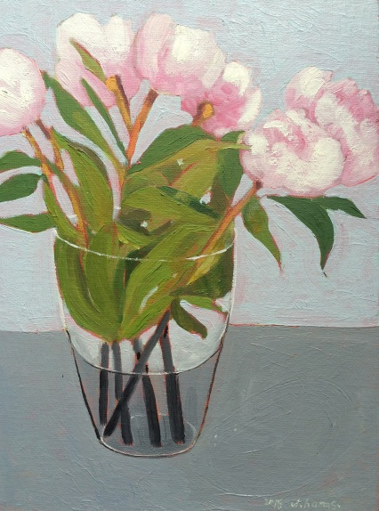Peonies on the grey. 2015. J.Harms. 18x24 cm. Oil on canvas board.