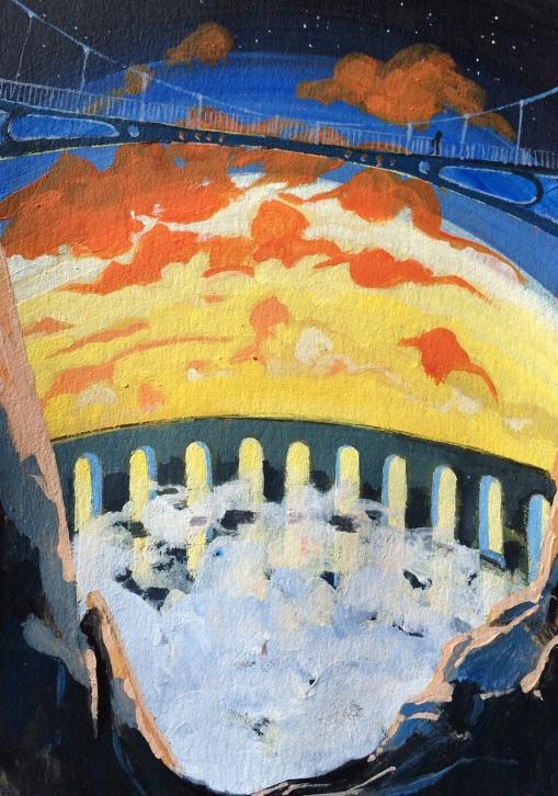 Le barrage à nuages. 2015. J.Harms. 10x15cm. Acrylic on paper.