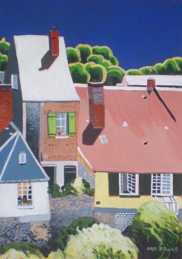 Les volets verts à St-Valery. 2015. J.Harms. 20x28.5cm. Acrylic on paper.