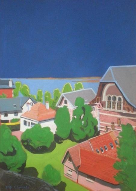 Maisons de la baie à St-Valery. 2016. J.Harms. 20x28.5cm. Acrylique sur papier.