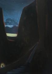 Le passage de la Fenêtre. Le 6ème continent 8-365. 2016. J.Harms. 10x15cm. Acrylic on paper.