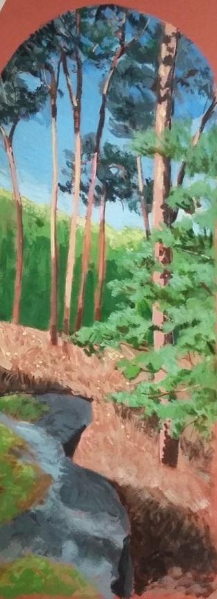 Depuis la Pierre Sorcière (n°1). Impression de la forêt d'Ermenonville. 2016. J.Harms. 17x45,5cm. Acrylic on paper.