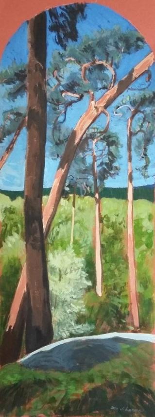 Depuis la Pierre Sorcière (n°2). Impression de la forêt d'Ermenonville. 2016. J.Harms. 17x45,5cm. Acrylic on paper.