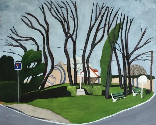 L'ïlot. 2017. J.Harms. Acrylic on paper.50,5x41cm