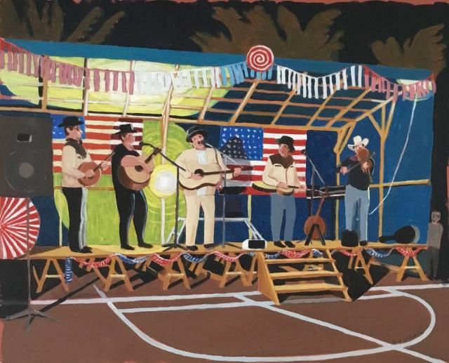 Le concert à l'américaine. 2017. J.Harms. Acrylique sur papier. 40,5x50,5cm.