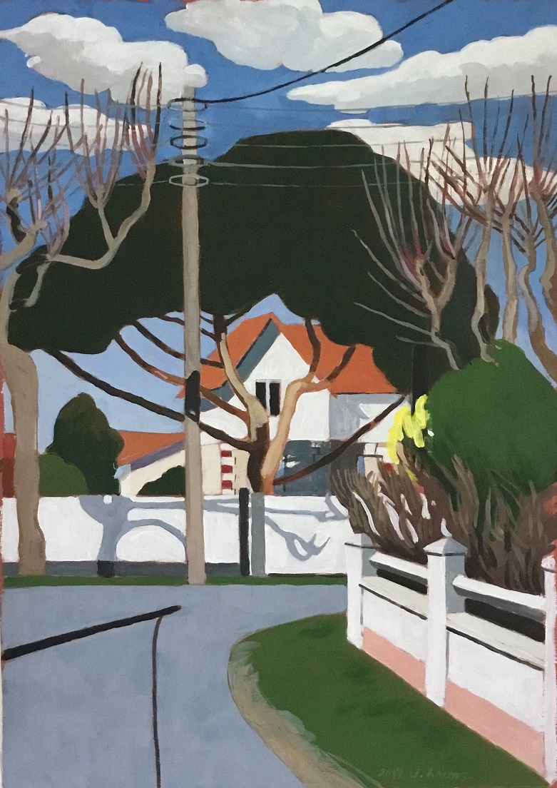 Tree house. 2017. J.Harms. Acrylic on paper. 30,5x44cm.